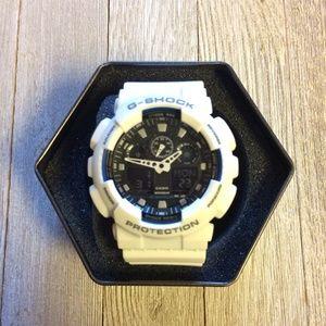 Casio G Shock White/Blue GA100 sports watch NEW!